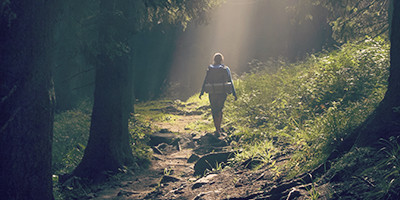 woman walking through the woods as sunshine spills down on her . She's walking away from the camera